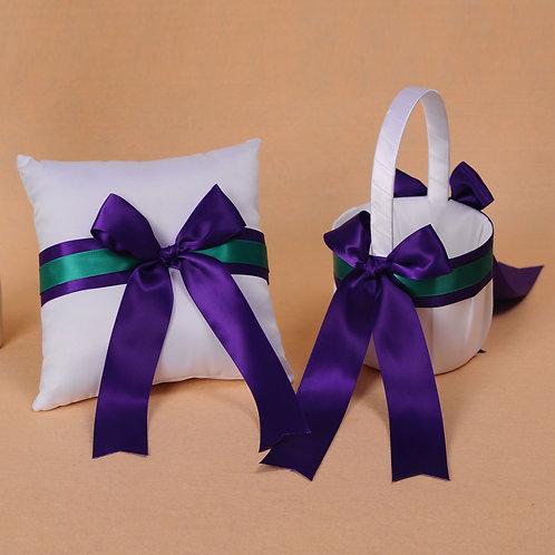 Satin Wedding Flower Girl Basket Ring Pillow Set Purple & Green