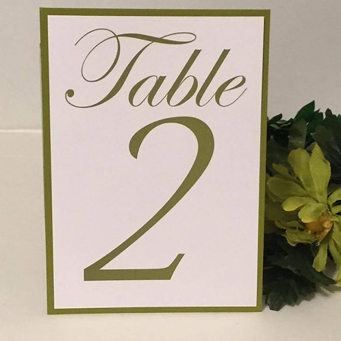 Sage Green Table Numbers