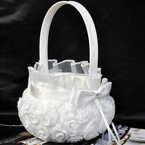 Romantic Bowknot Satin Wedding Ceremony Party Rose Flower Girl Basket