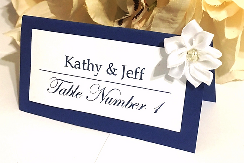 Blue & White Place Card with White Satin Flowers