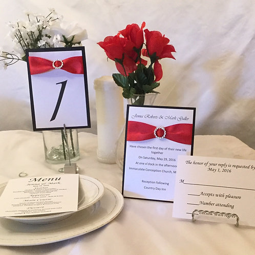 Red, White & Black Invitations with Satin Ribbons & Sliders