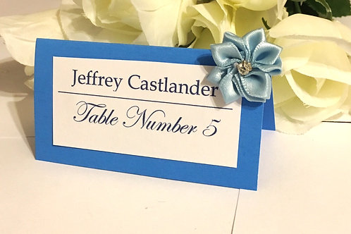 Lt Blue Place Cards with Lt Blue Satin Flowers