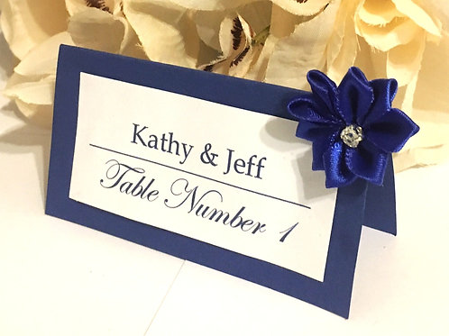 Blue & White Place Card with Dark Blue Satin Flowers