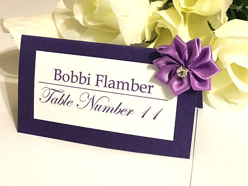 Purple and White Place Cards with Light Purple Satin Flowers