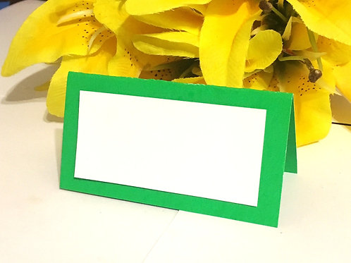 Green & White Place Cards - Blank or Personalized With No Flower - Qty 50