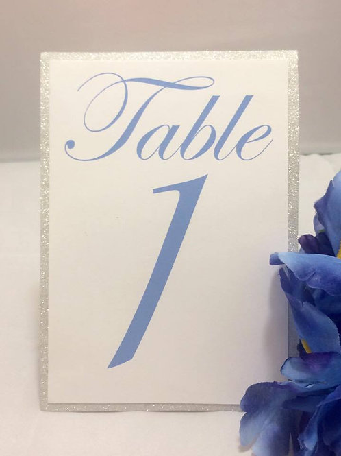 Glittery Blue & White Table Numbers