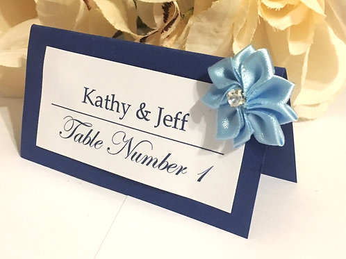 Blue & White Place Card with Lt Blue Satin Flowers