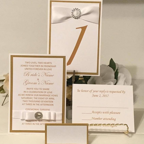 Gold & White Invitations Set for Wedding/50th Anniversaries/Parties