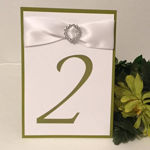 Sage Green With White Ribbons Table Numbers