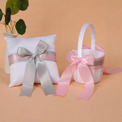 Satin Wedding Flower Girl Basket & Ring Pillow Set Pink & Gray