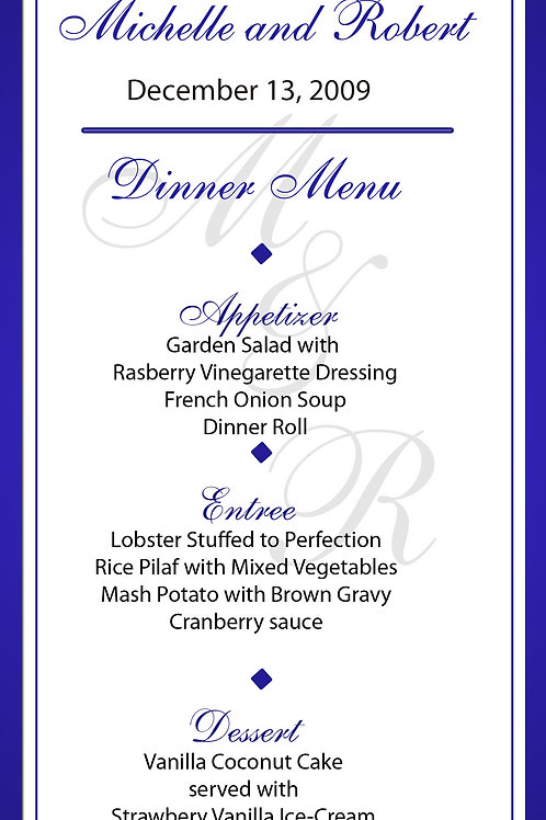 Contemporary Style Wedding Party Menu - Qty 50