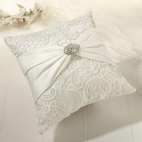 Vintage Lace Wedding Ring Bearer Pillow Cream Satin Ring Pillow