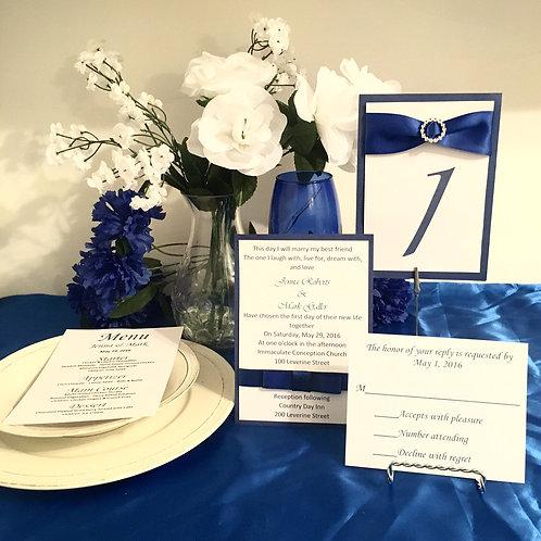 Blue & White Invitations with Silk Ribbon Bows