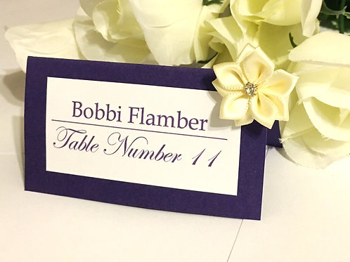 Purple and White Place Cards with Beige Satin Flowers