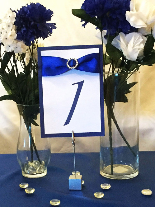 Table Numbers With Blue Ribbons & Round Ribbon Sliders - Starting at $5.49