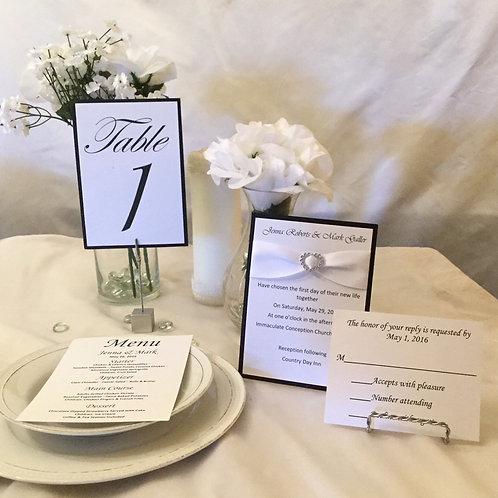 Black & White Invitation Set w/White Satin Ribbons & Sliders