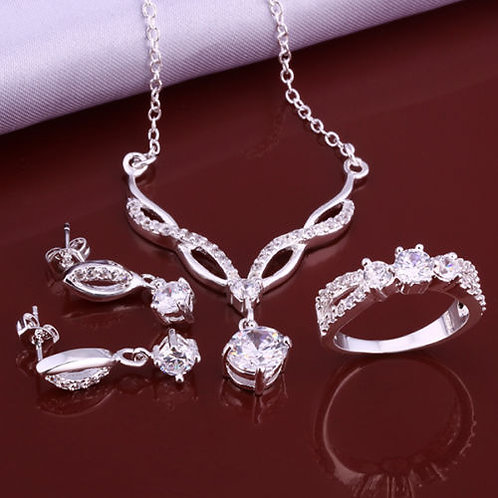 Silver Crystal Necklace Earrings Ring Jewelry Set