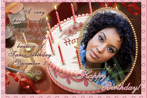 Birthday Cake Invitation Design (Includes Envelopes) - As low as $0.99