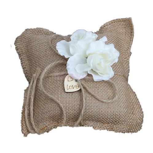 Ring Bearer Pillow Cushion Burlap White Flower
