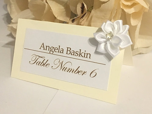 Off-White Place Cards with White Satin Flowers
