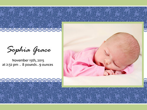 Birth Announcement Style 3 (Includes Envelopes) - As low as $0.99 each