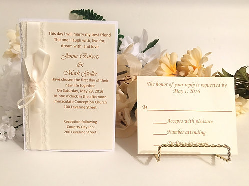Off-White Invitation Set with Lace & Satin Ribbon