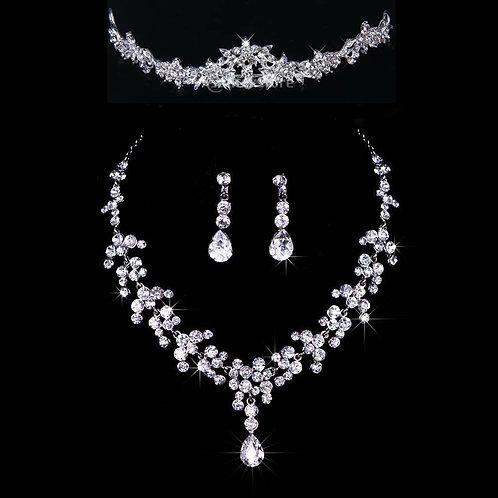 Jewelry Set Crystal Rhinestone Necklace, Earrings, & Tiara