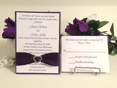 Purple & White Invitation Set w/Heart Shaped Ribbon Sliders