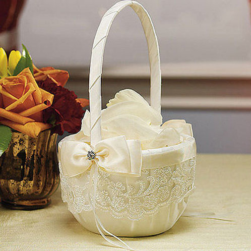 Beverly Clark French Lace Collection Flower Girl Basket Ivory