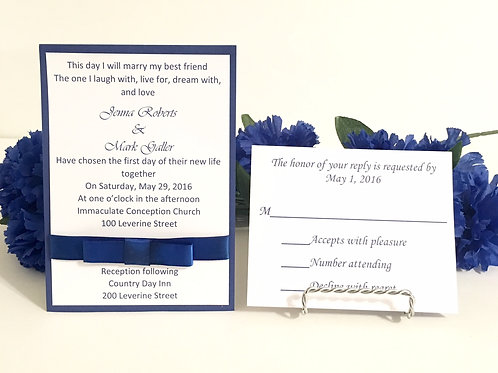 Royal Blue Invitation Set With Added Bow