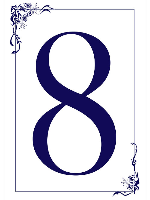 Table Numbers With Elegant Borders- Choose Your Color and Number
