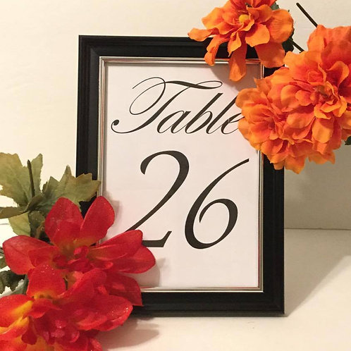 Black and Silver Framed Table Number - $2 each