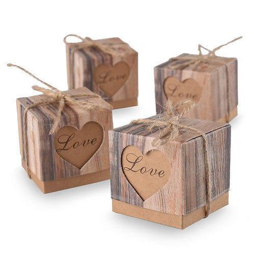 Rustic Love Candy Boxes With Burlap Jute