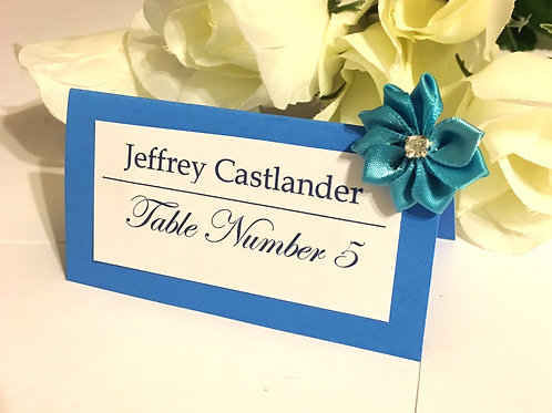 Lt Blue Place Cards with Blue Satin