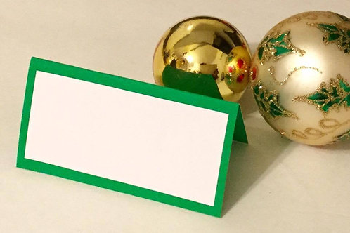 Green and White Place Cards - Qty 25