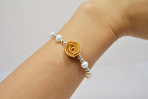 Gold Rose Wedding Bracelet