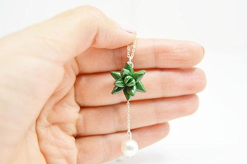 Succulent Y Drop Necklace