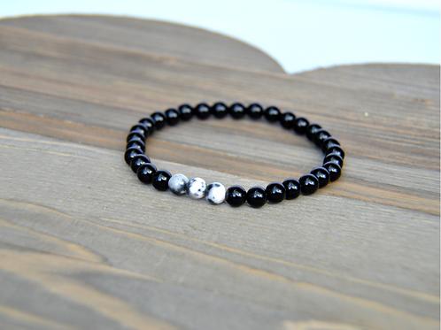 Black Agate & Mountain Stone Bracelet