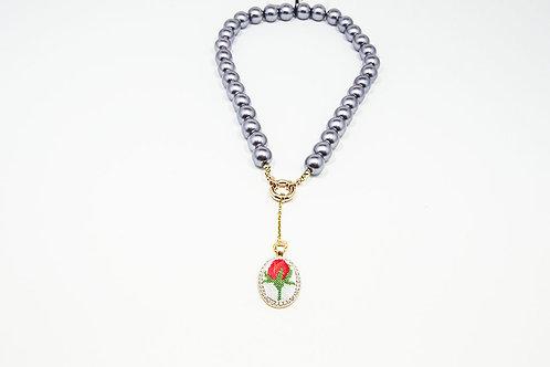 Dark Grey Pearl Pendant Necklace