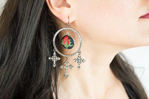 Large Vintage Cross Earrings
