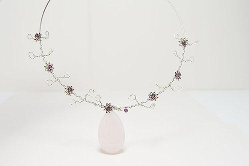 Rose Quarts Stone Necklace
