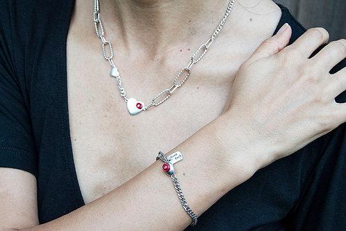 Love Heart Necklace & Bracelet