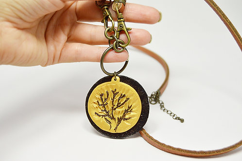 Artisan Tree Long Leather Necklace