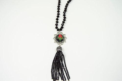 Black Crystal Tassel Necklace