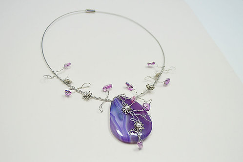 Purple Agate Collar Necklace
