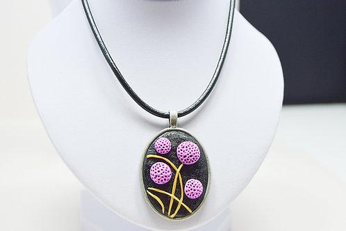 Purple Pendant Leather Necklace