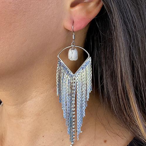 Long Rhinestone Tassel Earrings