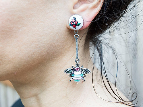 Rhinestone Bee Dangle Earrings