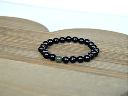 Black Agate & Indian Jasper Bracelet