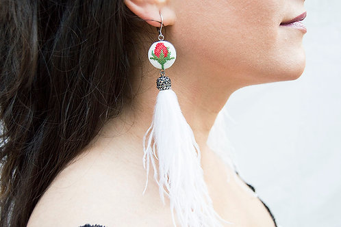 Vintage Rose Drop Earrings